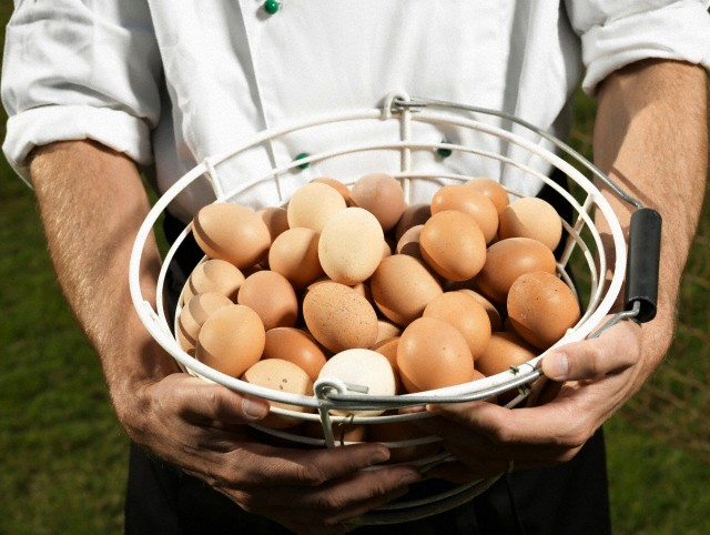 Chef holding basket full of eggs